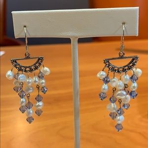 Jewelry - Freshwater Pearl and Blue Bead Dangle Earrings
